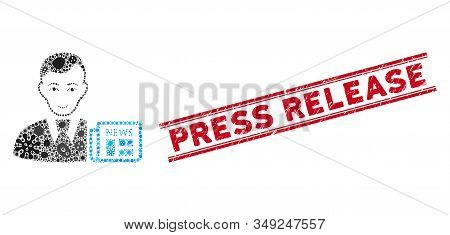 Flu Mosaic Businessman News Icon And Red Press Release Stamp Between Double Parallel Lines. Mosaic V