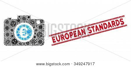 Pathogen Mosaic Euro Photo Icon And Red European Standards Stamp Between Double Parallel Lines. Mosa