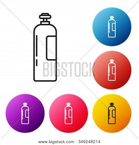 Black Line Industrial Gas Cylinder Tank For All Inert And Mixed Inert Gases Icon Isolated On White B