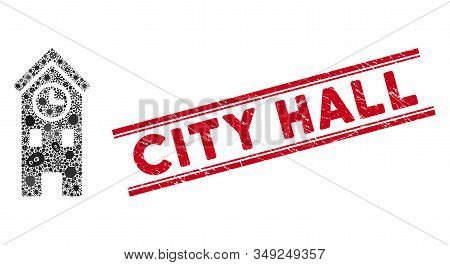 Flu Mosaic Clock Tower Icon And Red City Hall Stamp Between Double Parallel Lines. Mosaic Vector Is