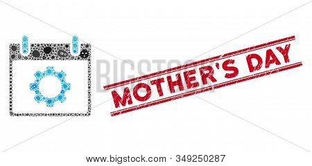 Contagion Mosaic Gear Options Calendar Day Icon And Red Mothers Day Seal Between Double Parallel Lin