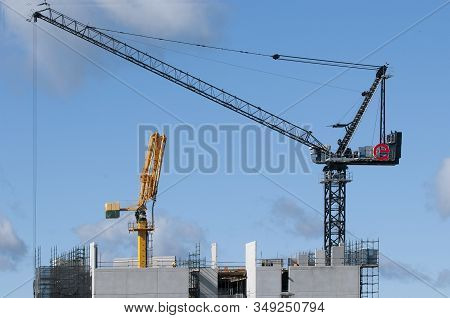 Gosford, New South Wales, Australia - November 4, 2019: Construction Work On New Building Site. High