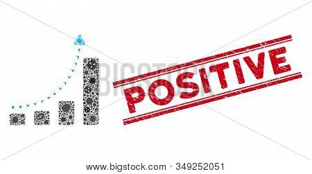 Virus Collage Bar Chart Positive Trend Icon And Red Positive Seal Between Double Parallel Lines. Mos