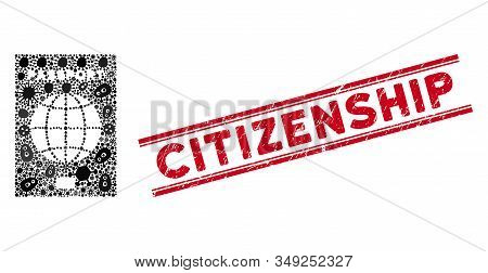 Infection Mosaic World Passport Icon And Red Citizenship Seal Stamp Between Double Parallel Lines. M