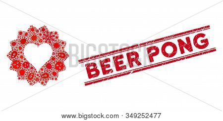 Viral Mosaic Hearts Token Icon And Red Beer Pong Seal Stamp Between Double Parallel Lines. Mosaic Ve