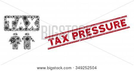 Infectious Mosaic Family Tax Pressure Icon And Red Tax Pressure Seal Stamp Between Double Parallel L