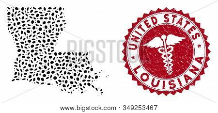 Vector Mosaic Louisiana State Map And Red Round Grunge Stamp Watermark With Medicine Sign. Louisiana