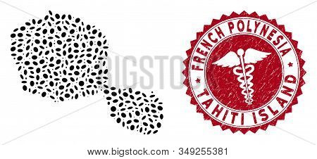 Vector Collage Tahiti Island Map And Red Round Distressed Stamp Watermark With Medical Symbol. Tahit