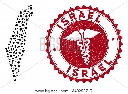 Vector Mosaic Israel Map And Red Round Corroded Stamp Seal With Healthcare Sign. Israel Map Collage