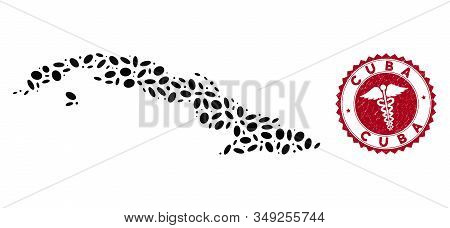 Vector Mosaic Cuba Map And Red Round Rubber Stamp Watermark With Caduceus Sign. Cuba Map Collage Com