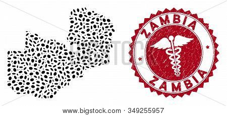 Vector Collage Zambia Map And Red Rounded Corroded Stamp Seal With Health Care Sign. Zambia Map Coll