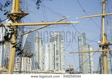 Puerto Madero, Modern Buildings Seen Through The Masts And Ropes Of The Ara Presidente Sarmiento Fri
