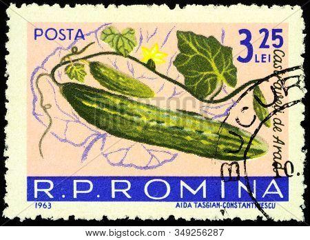 Moscow, Russia - February 06, 2020: Stamp Printed In Romania Shows Cucumbers (cucumis Sativus), Seri