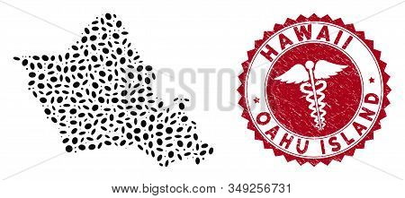 Vector Collage Oahu Island Map And Red Round Rubber Stamp Seal With Serpents Symbol. Oahu Island Map