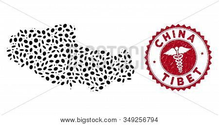 Vector Mosaic Tibet Chinese Territory Map And Red Round Corroded Stamp Seal With Health Care Sign. T