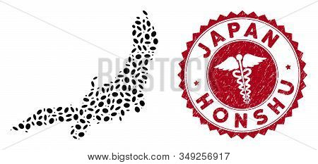 Vector Collage Honshu Island Map And Red Round Rubber Stamp Seal With Medicine Icon. Honshu Island M
