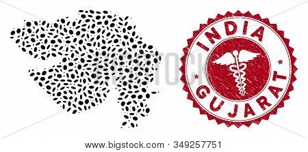 Vector Mosaic Gujarat State Map And Red Round Distressed Stamp Seal With Medic Symbol. Gujarat State