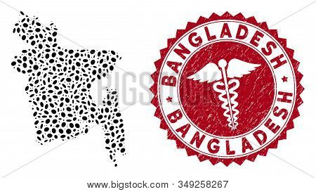Vector Collage Bangladesh Map And Red Rounded Distressed Stamp Watermark With Healthcare Icon. Bangl
