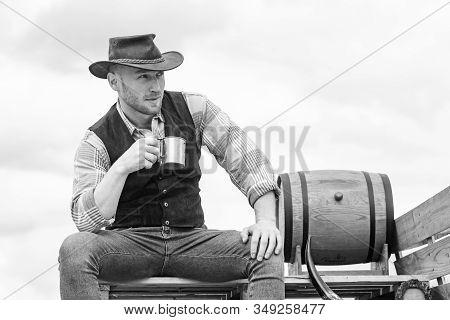 Handsome Bearded Macho Man. Men Beauty Standard. Example Of True Masculinity. Cowboy Wearing Hat. We