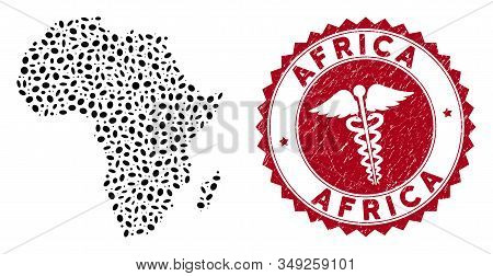 Vector Collage Africa Map And Red Rounded Distressed Stamp Watermark With Health Care Sign. Africa M
