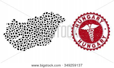 Vector Collage Hungary Map And Red Rounded Grunge Stamp Watermark With Medic Icon. Hungary Map Colla