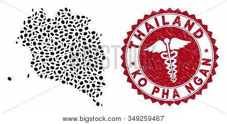 Vector Collage Ko Pha Ngan Map And Red Rounded Grunge Stamp Seal With Health Care Symbol. Ko Pha Nga