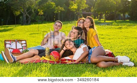 Beautiful Young People Group Photo On Picnic.