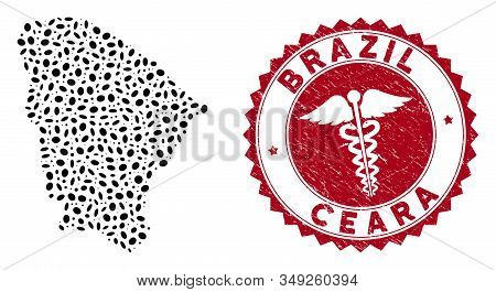 Vector Collage Ceara State Map And Red Round Distressed Stamp Seal With Health Care Sign. Ceara Stat