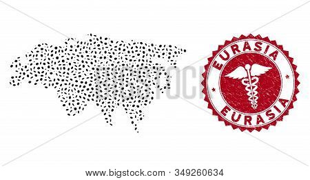 Vector Mosaic Eurasia Map And Red Round Corroded Stamp Seal With Healthcare Symbol. Eurasia Map Coll