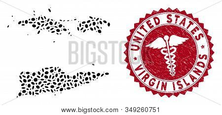 Vector Collage American Virgin Islands Map And Red Round Distressed Stamp Seal With Healthcare Symbo