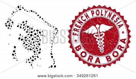 Vector Mosaic Bora-bora Map And Red Rounded Distressed Stamp Seal With Medicine Symbol. Bora-bora Ma