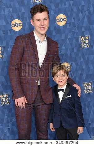 LOS ANGELES - JAN 08:  Nolan Gould and Jeremy Maguire arrives for the ABC Winter TCA Party 2020 on January 08, 2020 in Pasadena, CA