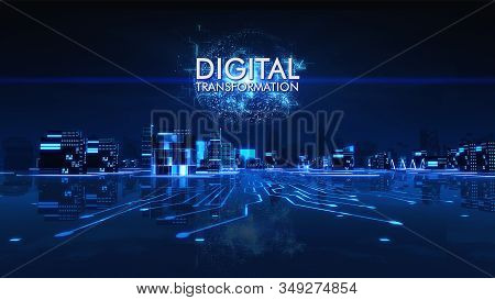 Digital Transformation In Title With Cityscape Futuristic 3d City Neon Light With Power Energy Ball