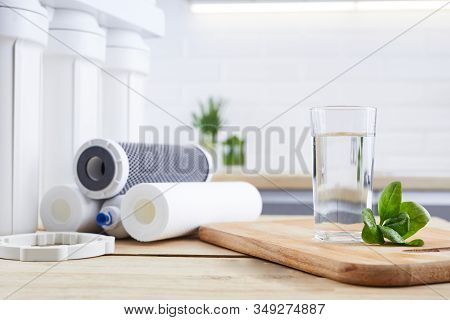 Glass Of Clean Water With Osmosis Filter, Green Leaves And Cartridges In Kitchen . Concept Household