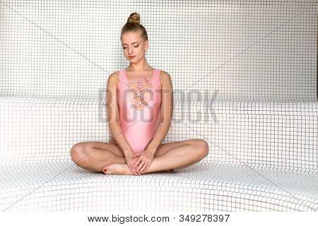 Woman relaxing in a turkish bath