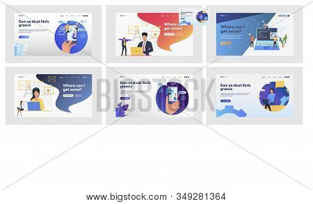 Set Of Specialists Rating Services Quality With Review Stars. Flat Vector Illustrations Of People Co