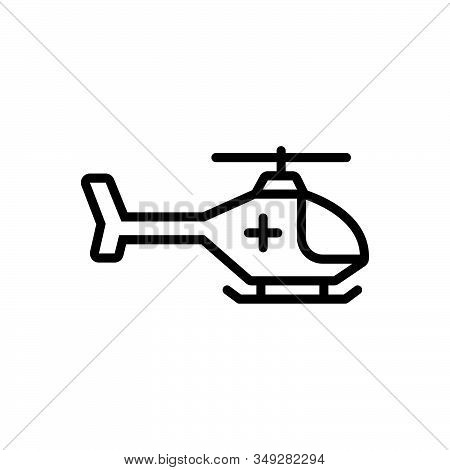 Black Line Icon For Emergency-helicopter Air-medical-service Air-ambulance Helicopter Emergency Resc
