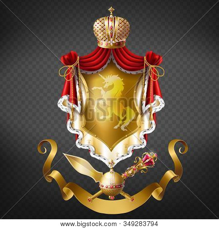 Kings Coat Of Arms, Royal Heraldic Emblem Realistic . Precious Crown, Red Mantle, Cloak With Ermine