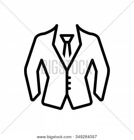 Black Line Icon For Formal-wear Uniform Suit Dress Formal Wear Clothes Fashion Garment