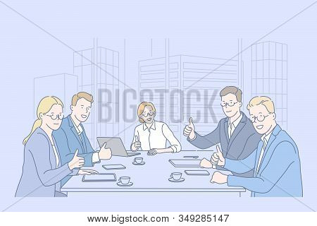 Like, Teamwork, Business, Team Concept. Group Of Business Men And Businesswomen Do Teamwork In Offic