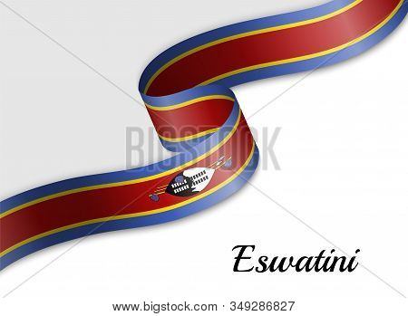 Waving Ribbon Flag Of Eswatini. Template For Independence Day Banner