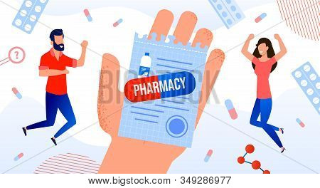Medication Prescription For Pharmacy Medical Poster. Human Hand Holding Button Pharmaceutical Drugs