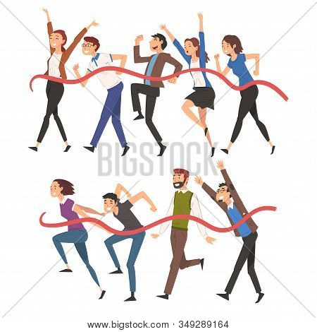 Successful People Running And Crossing The Finish Line, Professional Competition Or Team Building Co