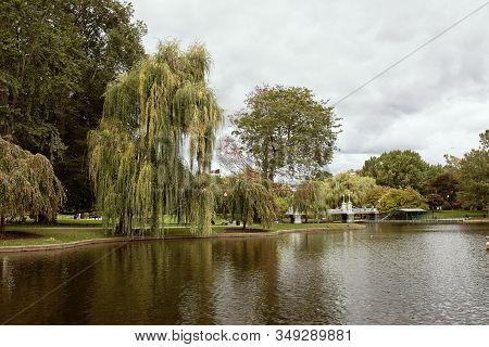 Pond At Boston Public Gardens In The Back Bay Neighborhood Of Boston, Massachusetts.