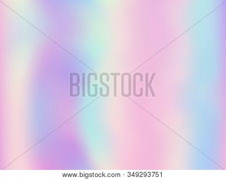 Blurred Hologram Texture Gradient Wallpaper. Elegant Pastel Rainbow Unicorn Background. Hologram Col