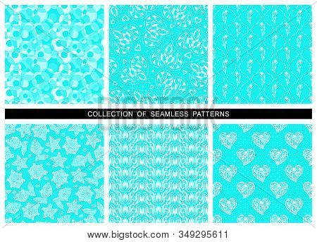 Set Of Seamless Patterns Of Bright Neon Turquoise Color. Blue Azure Flowers, Tulips, Geometric Circl