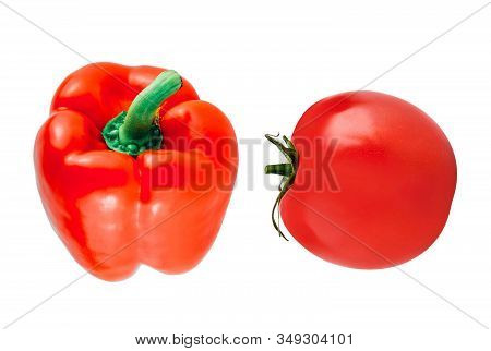 Fresh Red Tomatoe And Peper Isolated On White Background
