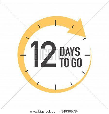 Twelve Days To Go Icon. Round Symbol With Yellow Arrow.