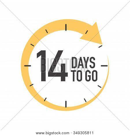 Fourteen Days To Go Icon. Round Symbol With Yellow Arrow.
