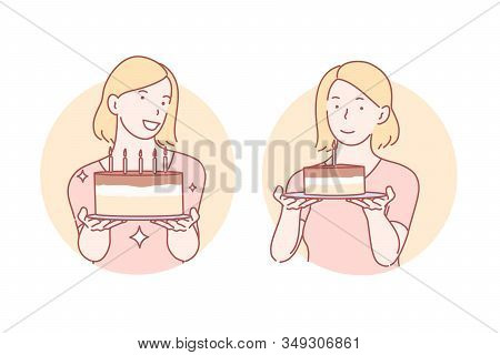 Congratulation, Birthday Cake Set Concept. Young Satisfied Woman Is Giving Pastry Away. Happy Cheerf